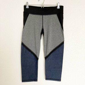 Workout Pants Shorts High Waist Black Grey Sz L